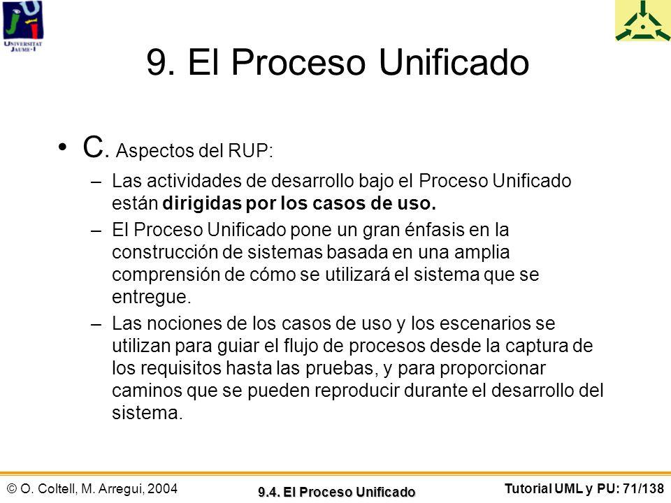 © O. Coltell, M. Arregui, 2004Tutorial UML y PU: 71/138 9. El Proceso Unificado C. Aspectos del RUP: –Las actividades de desarrollo bajo el Proceso Un