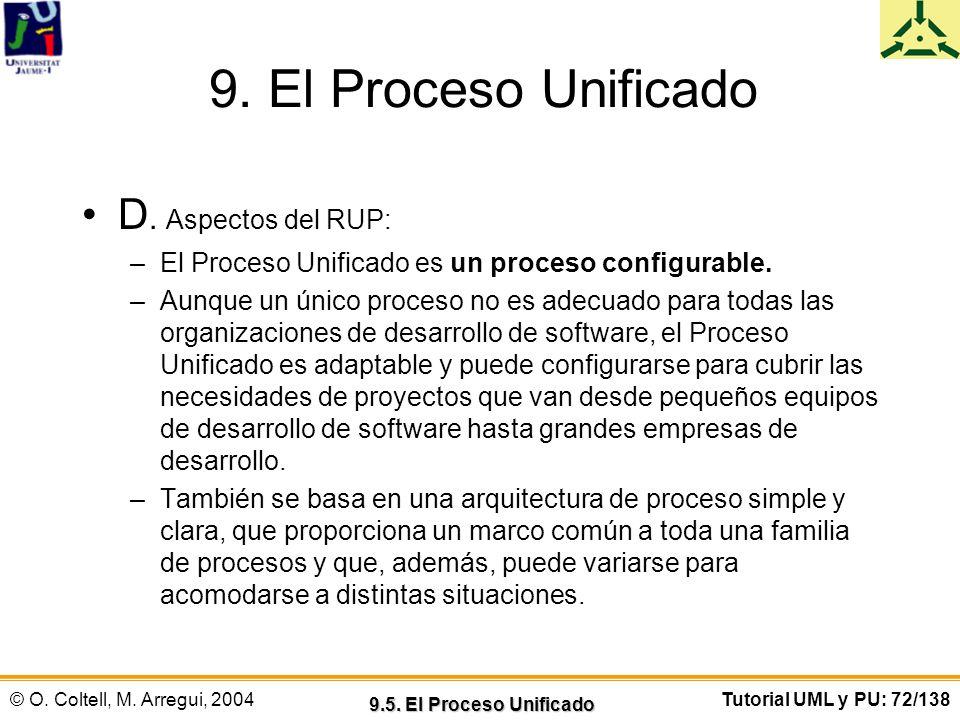 © O. Coltell, M. Arregui, 2004Tutorial UML y PU: 72/138 9. El Proceso Unificado D. Aspectos del RUP: –El Proceso Unificado es un proceso configurable.
