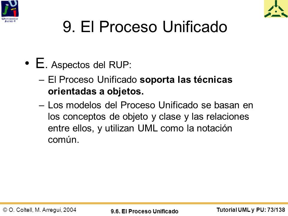 © O. Coltell, M. Arregui, 2004Tutorial UML y PU: 73/138 9. El Proceso Unificado E. Aspectos del RUP: –El Proceso Unificado soporta las técnicas orient