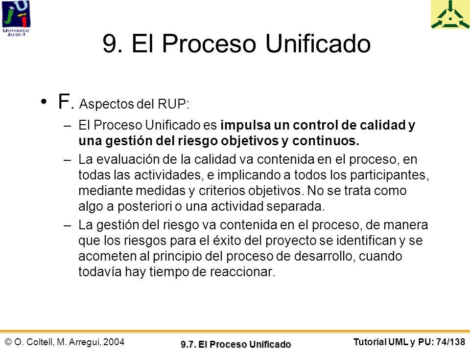 © O. Coltell, M. Arregui, 2004Tutorial UML y PU: 74/138 9. El Proceso Unificado F. Aspectos del RUP: –El Proceso Unificado es impulsa un control de ca