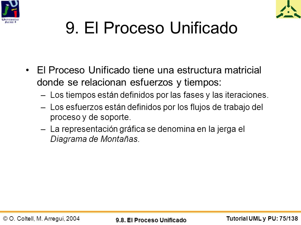 © O. Coltell, M. Arregui, 2004Tutorial UML y PU: 75/138 9. El Proceso Unificado El Proceso Unificado tiene una estructura matricial donde se relaciona