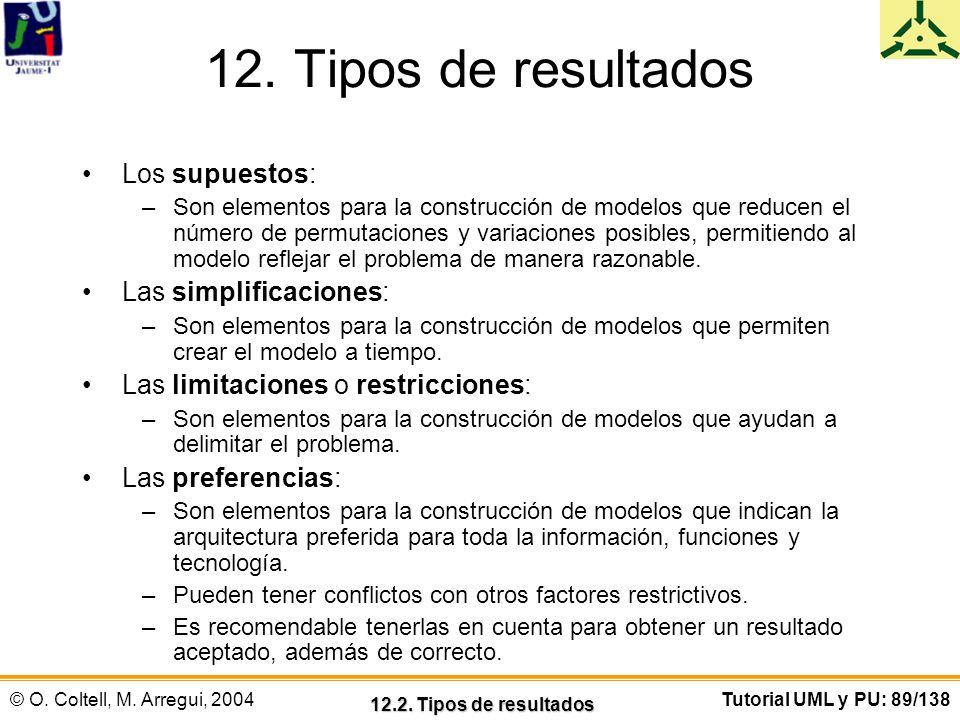 © O. Coltell, M. Arregui, 2004Tutorial UML y PU: 89/138 12. Tipos de resultados Los supuestos: –Son elementos para la construcción de modelos que redu