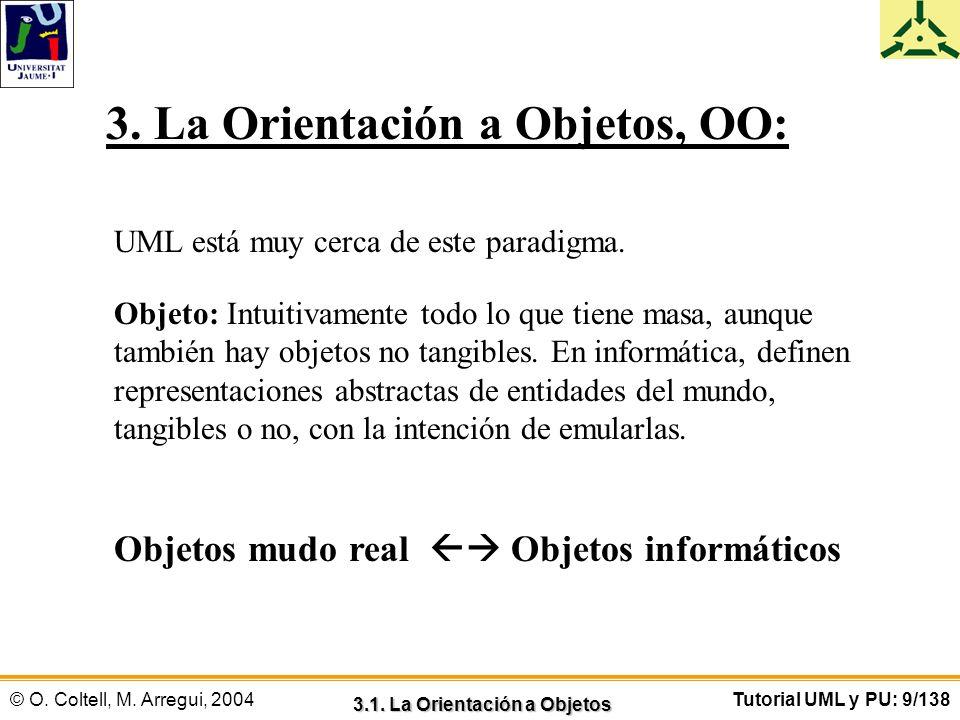 © O. Coltell, M. Arregui, 2004Tutorial UML y PU: 9/138 3. La Orientación a Objetos, OO: UML está muy cerca de este paradigma. Objeto: Intuitivamente t