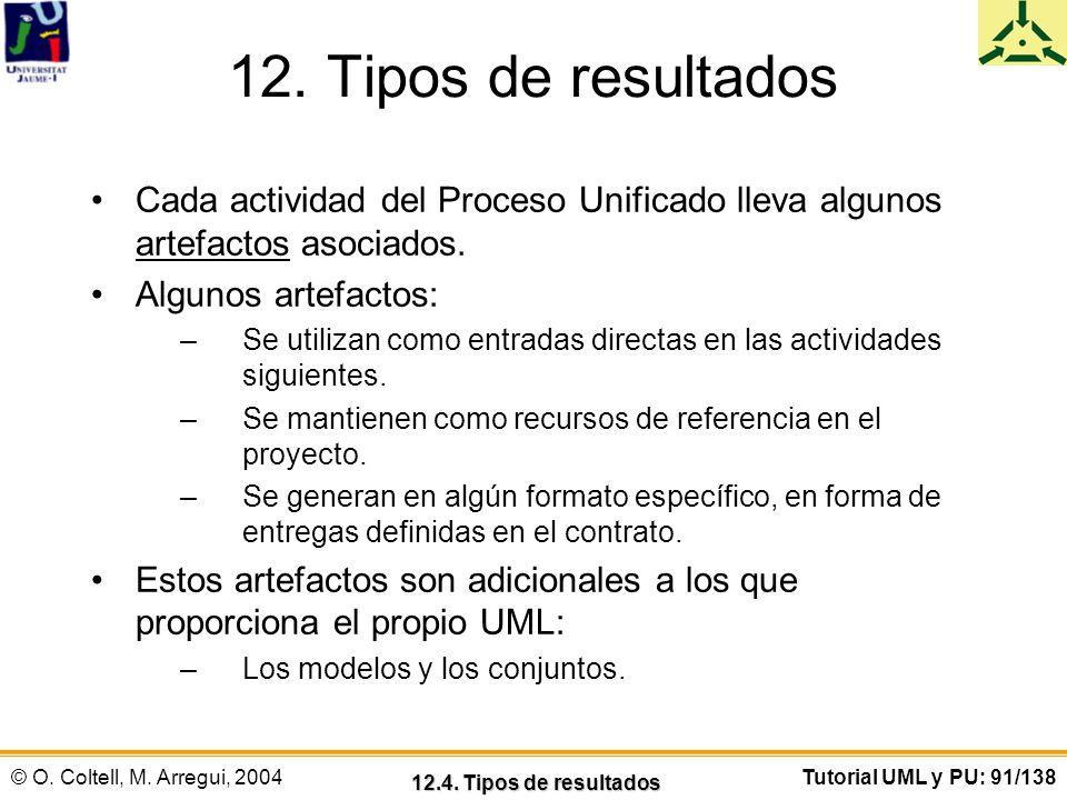 © O. Coltell, M. Arregui, 2004Tutorial UML y PU: 91/138 12. Tipos de resultados Cada actividad del Proceso Unificado lleva algunos artefactos asociado