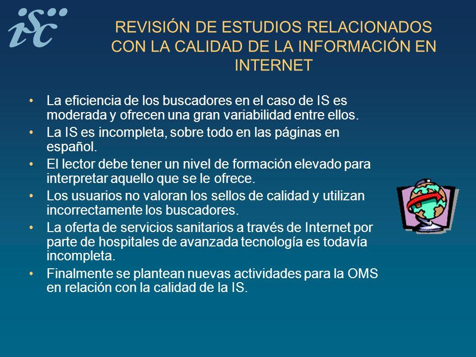 REVISIÓN DE ESTUDIOS RELACIONADOS CON LA CALIDAD DE LA INFORMACIÓN EN INTERNET La eficiencia de los buscadores en el caso de IS es moderada y ofrecen
