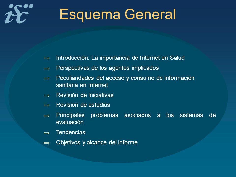 Esquema General Introducción. La importancia de Internet en Salud Perspectivas de los agentes implicados Peculiaridades del acceso y consumo de inform