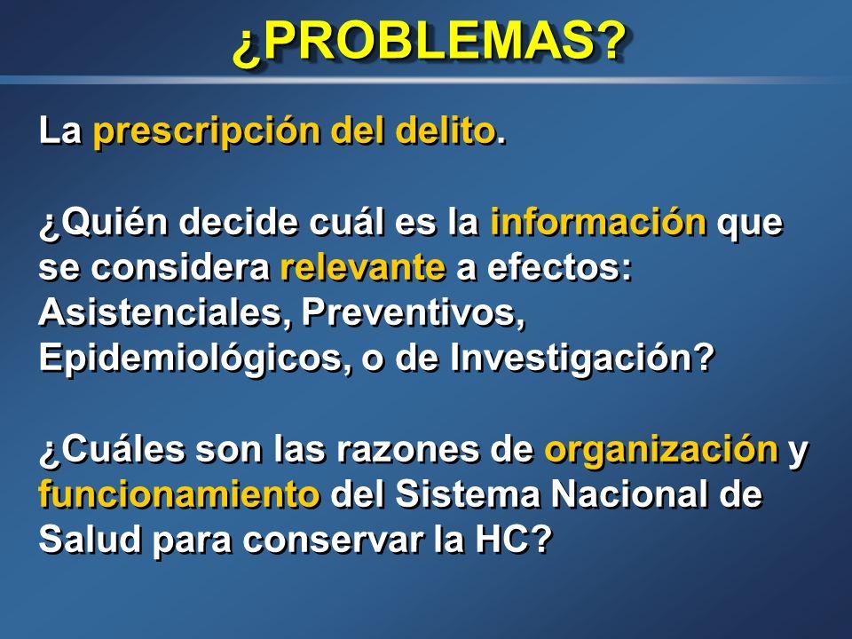 PERDURABILIDAD DE LA H.C. Ley (Galicia) 3/2001: Art. 20 2.-Se conservará indefinidamente la siguiente información: Informes de alta. Hojas de consenti