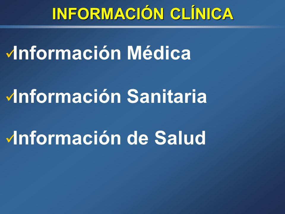 INFORMACIÓN CLÍNICA Información Médica Información Sanitaria Información de Salud