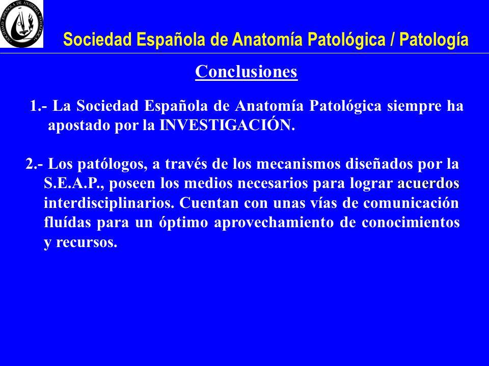Sociedad Española de Anatomía Patológica / Patología Conclusiones 1.- La Sociedad Española de Anatomía Patológica siempre ha apostado por la INVESTIGA