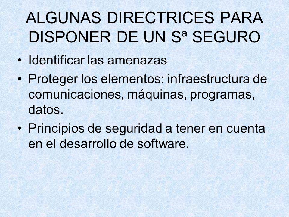 ALGUNAS DIRECTRICES PARA DISPONER DE UN Sª SEGURO Identificar las amenazas Proteger los elementos: infraestructura de comunicaciones, máquinas, progra