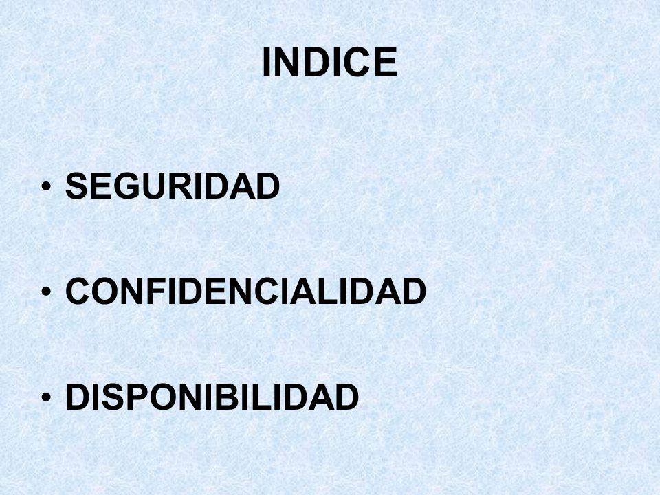 INDICE SEGURIDAD CONFIDENCIALIDAD DISPONIBILIDAD