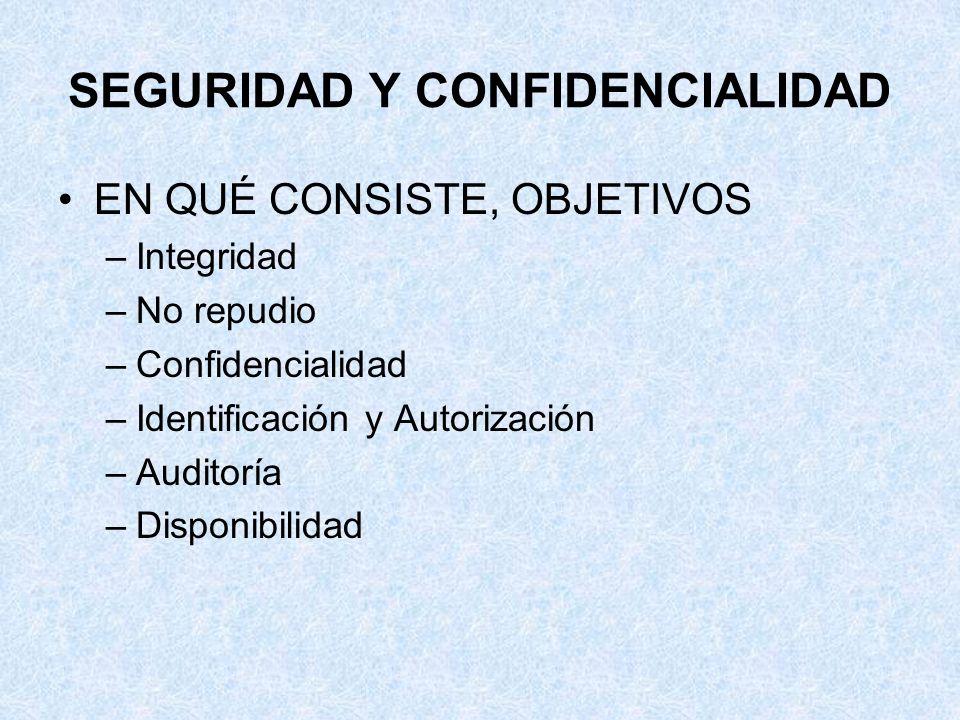 SEGURIDAD Y CONFIDENCIALIDAD EN QUÉ CONSISTE, OBJETIVOS –Integridad –No repudio –Confidencialidad –Identificación y Autorización –Auditoría –Disponibi