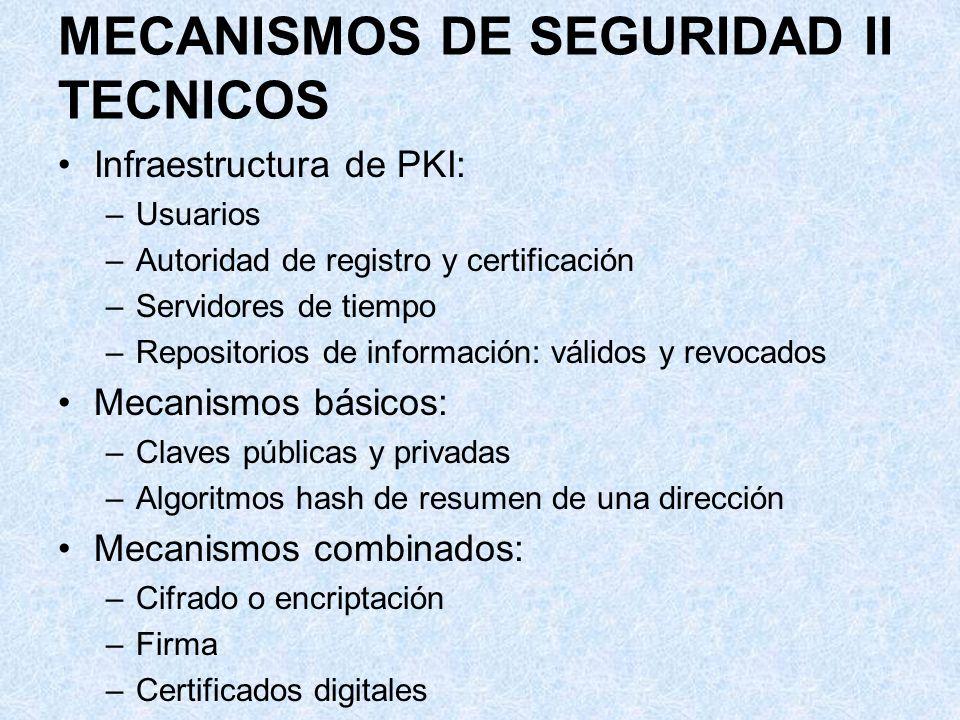 MECANISMOS DE SEGURIDAD II TECNICOS Infraestructura de PKI: –Usuarios –Autoridad de registro y certificación –Servidores de tiempo –Repositorios de in