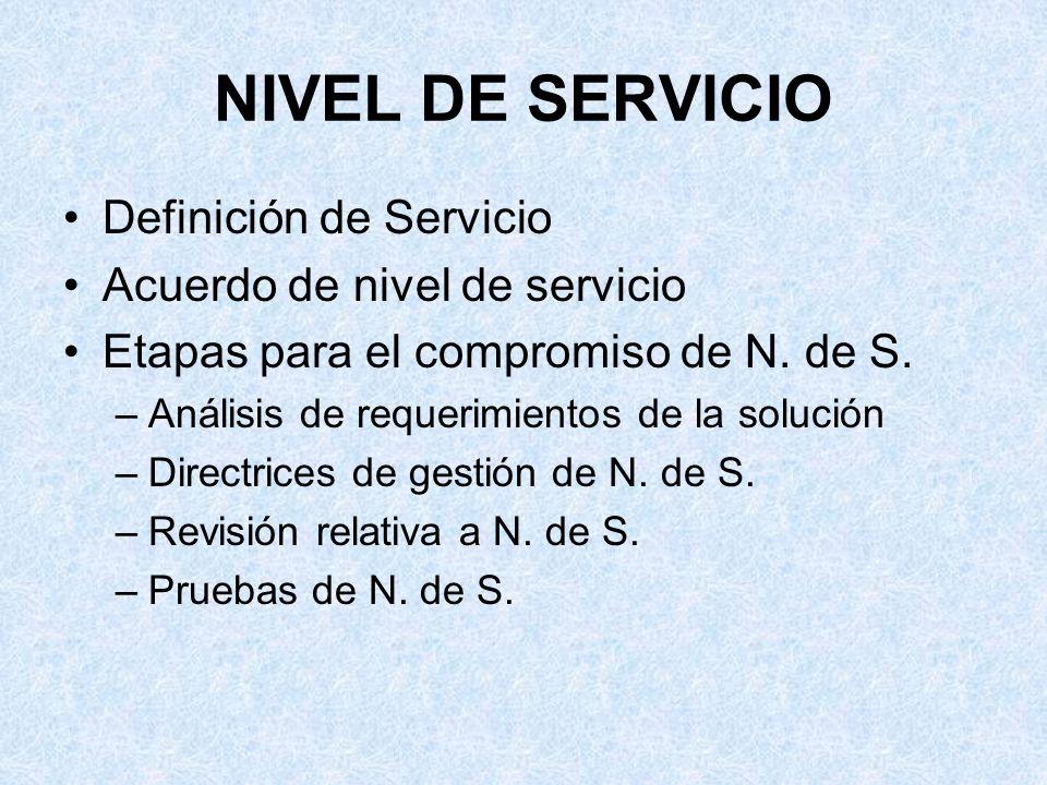 NIVEL DE SERVICIO Definición de Servicio Acuerdo de nivel de servicio Etapas para el compromiso de N. de S. –Análisis de requerimientos de la solución