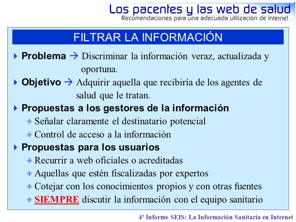 4º Informe SEIS: La Información Sanitaria en Internet Problema Discriminar la información veraz, actualizada y oportuna.
