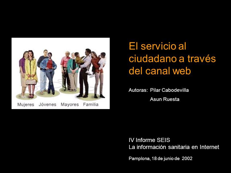 El servicio al ciudadano a través del canal web IV Informe SEIS La información sanitaria en Internet Pamplona, 18 de junio de 2002 Autoras:Pilar Cabodevilla Asun Ruesta