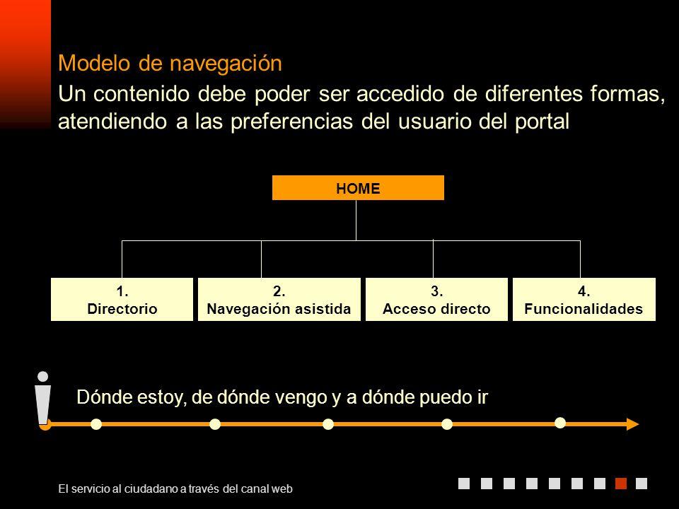 El servicio al ciudadano a través del canal web Modelo de navegación 1.