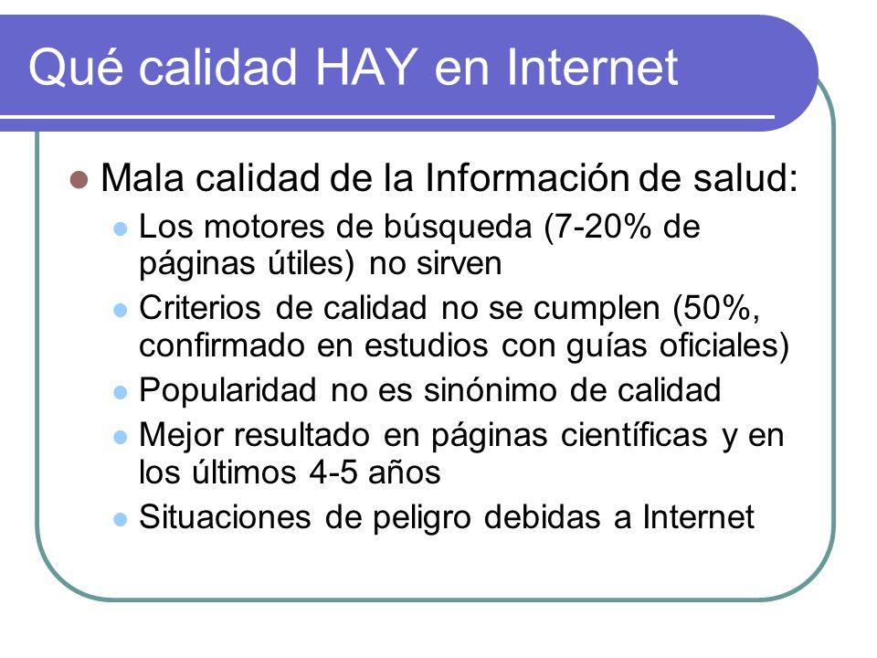 Qué calidad HAY en Internet Mala calidad de la Información de salud: Los motores de búsqueda (7-20% de páginas útiles) no sirven Criterios de calidad