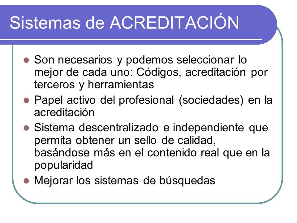 Sistemas de ACREDITACIÓN Son necesarios y podemos seleccionar lo mejor de cada uno: Códigos, acreditación por terceros y herramientas Papel activo del