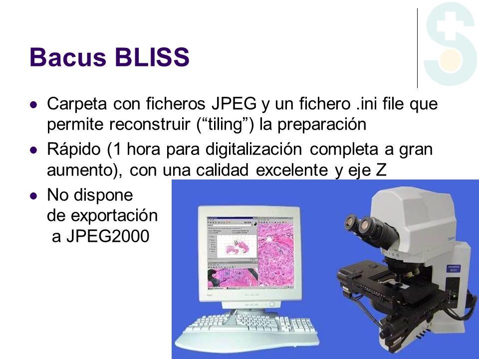 Bacus BLISS Carpeta con ficheros JPEG y un fichero.ini file que permite reconstruir (tiling) la preparación Rápido (1 hora para digitalización complet