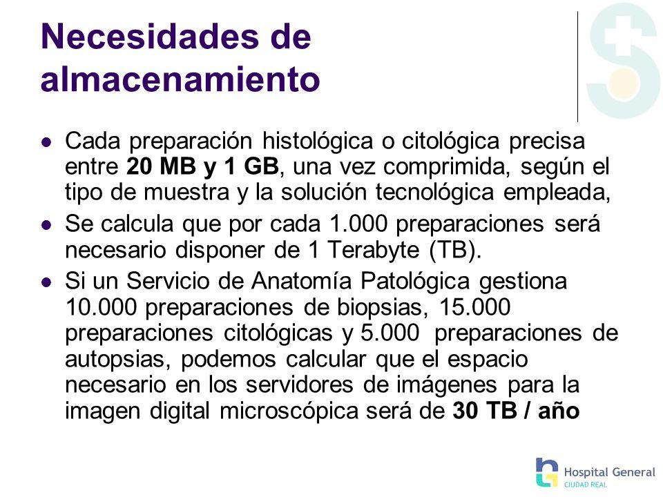 Necesidades de almacenamiento Cada preparación histológica o citológica precisa entre 20 MB y 1 GB, una vez comprimida, según el tipo de muestra y la