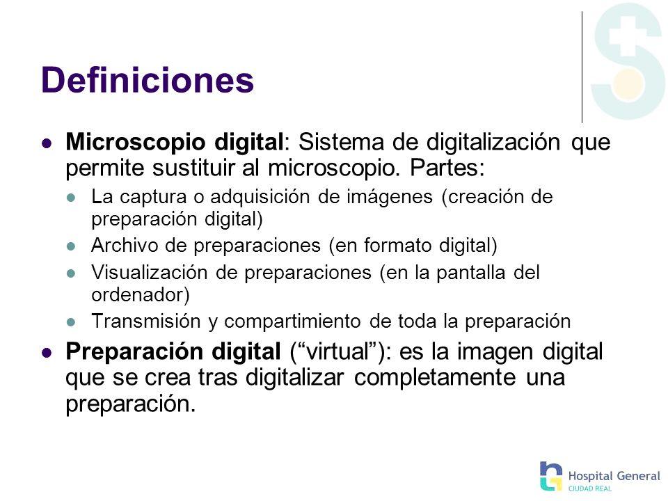 Definiciones Microscopio digital: Sistema de digitalización que permite sustituir al microscopio. Partes: La captura o adquisición de imágenes (creaci