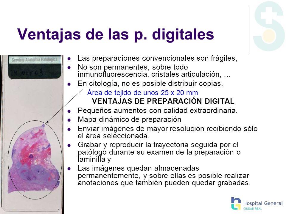 Ventajas de las p. digitales Las preparaciones convencionales son frágiles, No son permanentes, sobre todo inmunofluorescencia, cristales articulación