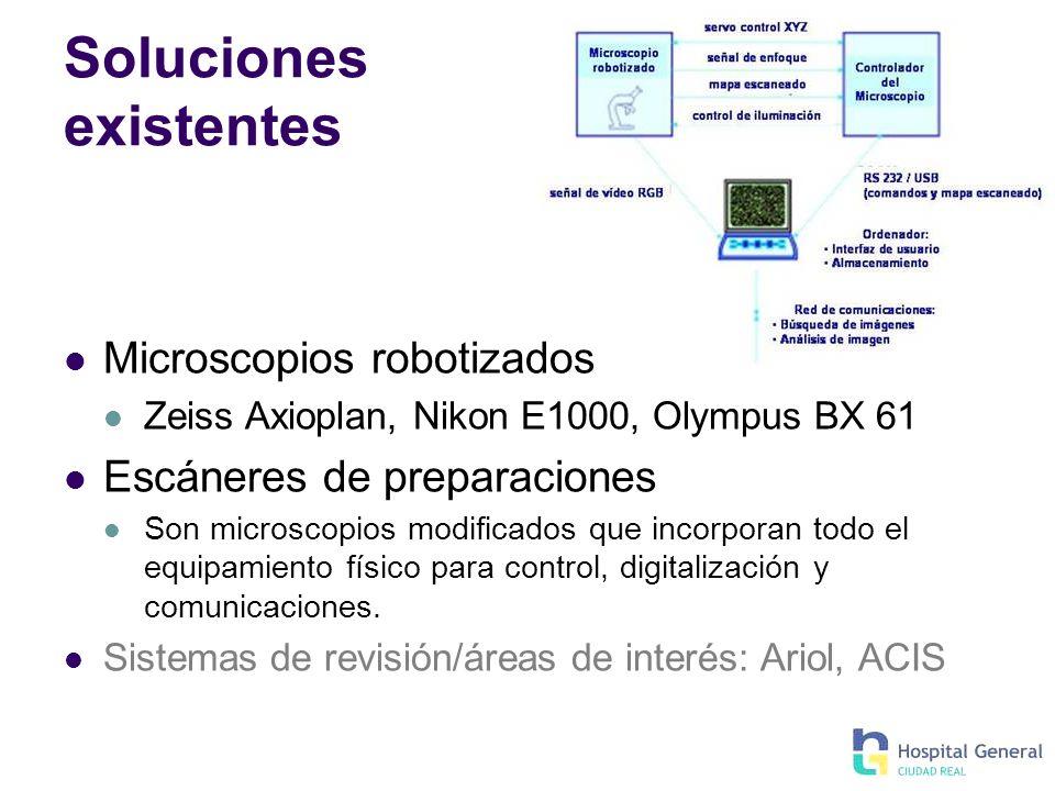 Soluciones existentes Microscopios robotizados Zeiss Axioplan, Nikon E1000, Olympus BX 61 Escáneres de preparaciones Son microscopios modificados que