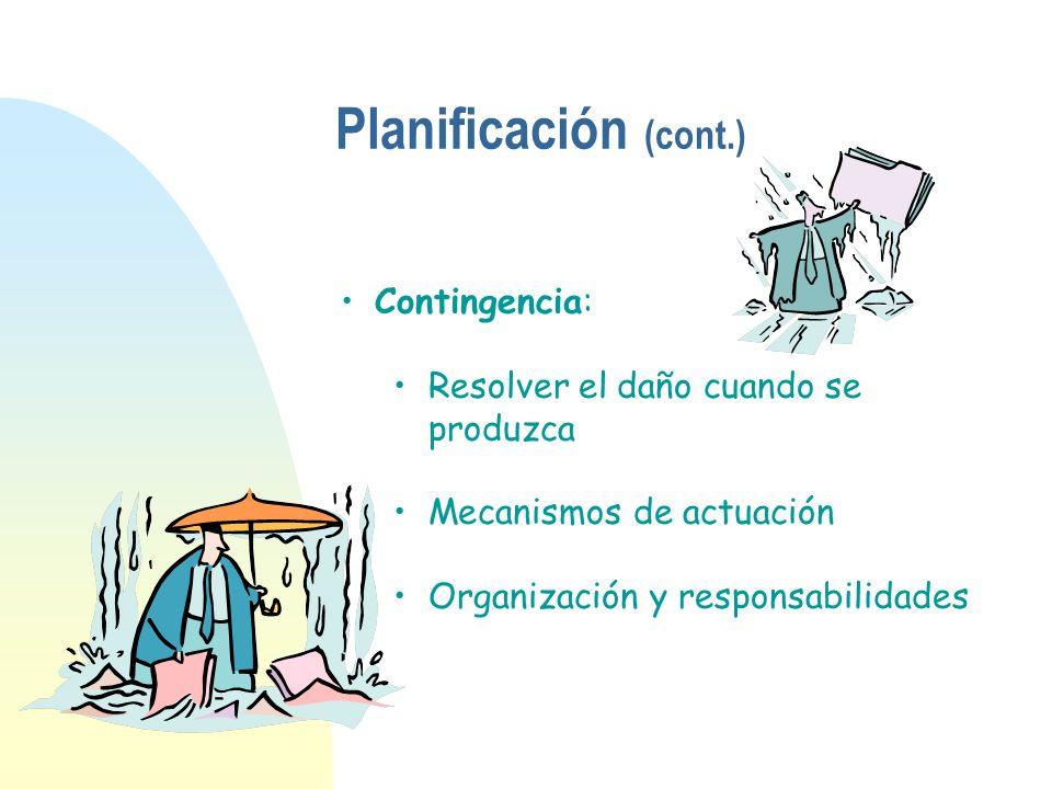 Contingencia: Resolver el daño cuando se produzca Mecanismos de actuación Organización y responsabilidades Planificación (cont.)