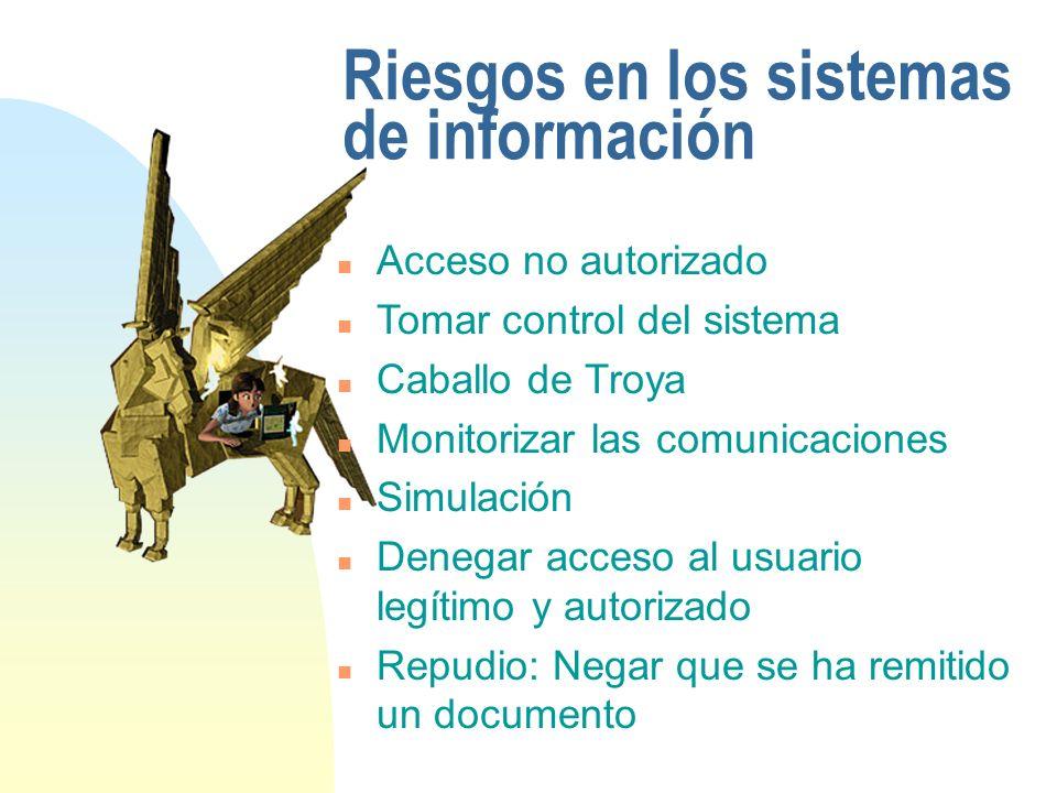 Riesgos en los sistemas de información n Acceso no autorizado n Tomar control del sistema n Caballo de Troya n Monitorizar las comunicaciones n Simula