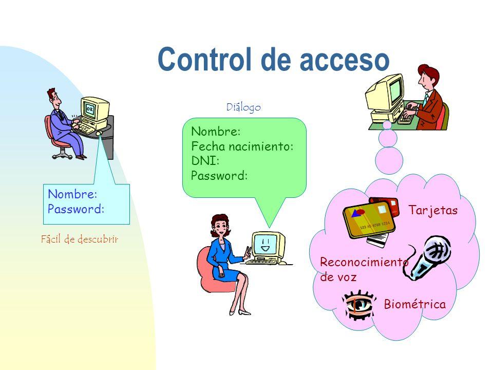 Nombre: Fecha nacimiento: DNI: Password: Nombre: Password: Control de acceso Fácil de descubrir Diálogo Tarjetas Reconocimiento de voz Biométrica
