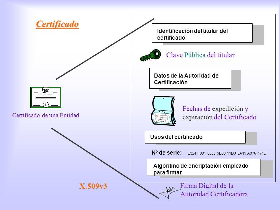 Certificado Identificación del titular del certificado Certificado Clave Pública del titular Certificado de una Entidad Datos de la Autoridad de Certi