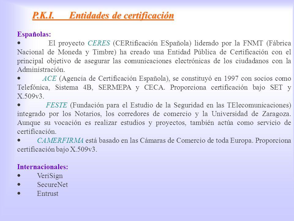 PKI, Entidades de certificación P.K.I. Entidades de certificación Españolas: El proyecto CERES (CERtificación ESpañola) liderado por la FNMT (Fábrica