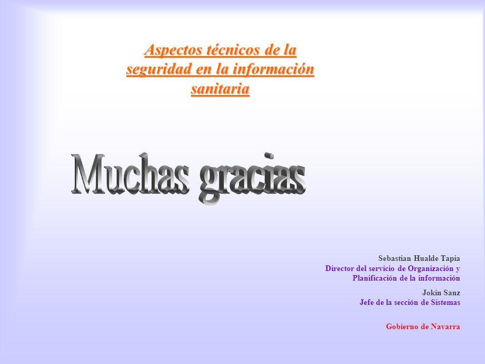 final Aspectos técnicos de la seguridad en la información sanitaria Sebastian Hualde Tapia Director del servicio de Organización y Planificación de la