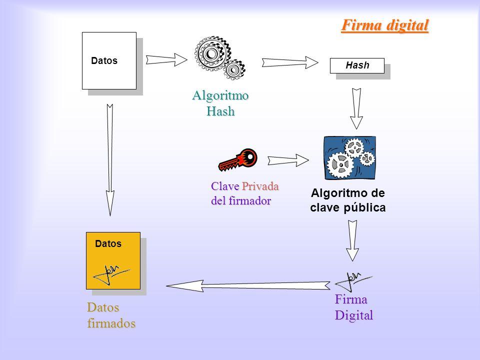 Datos Hash Algoritmo Hash Firma digital Firma Digital Algoritmo de clave pública Clave Privada del firmador Firma Digital Datos Datos firmados