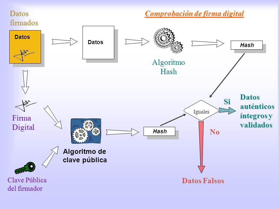 Algoritmo de clave pública Datos Hash Firma Digital Clave Pública del firmador Algoritmo Hash Datos auténticos íntegros y validados Si Datos Falsos No