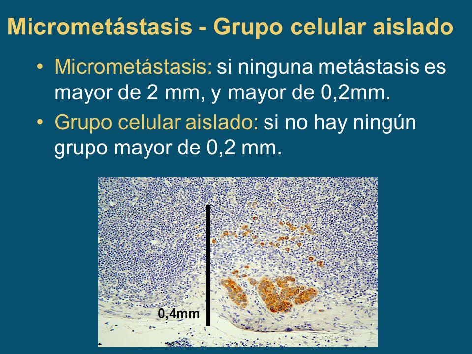 Micrometástasis - Grupo celular aislado Micrometástasis: si ninguna metástasis es mayor de 2 mm, y mayor de 0,2mm. Grupo celular aislado: si no hay ni