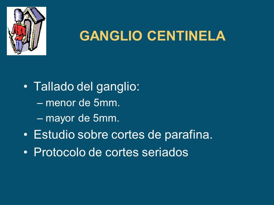 GANGLIO CENTINELA Tallado del ganglio: –menor de 5mm. –mayor de 5mm. Estudio sobre cortes de parafina. Protocolo de cortes seriados