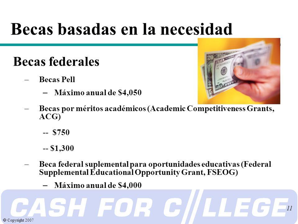Copyright 2007 11 Becas basadas en la necesidad Becas federales –Becas Pell – Máximo anual de $4,050 –Becas por méritos académicos (Academic Competitiveness Grants, ACG) -- $750 -- $1,300 –Beca federal suplemental para oportunidades educativas (Federal Supplemental Educational Opportunity Grant, FSEOG) – Máximo anual de $4,000