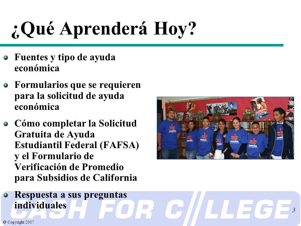 Copyright 2007 3 ¿Qué Aprenderá Hoy.