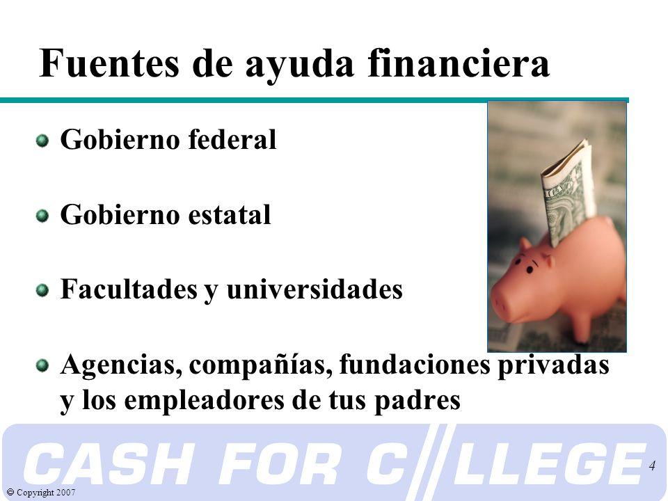 Copyright 2007 4 Gobierno federal Gobierno estatal Facultades y universidades Agencias, compañías, fundaciones privadas y los empleadores de tus padres Fuentes de ayuda financiera