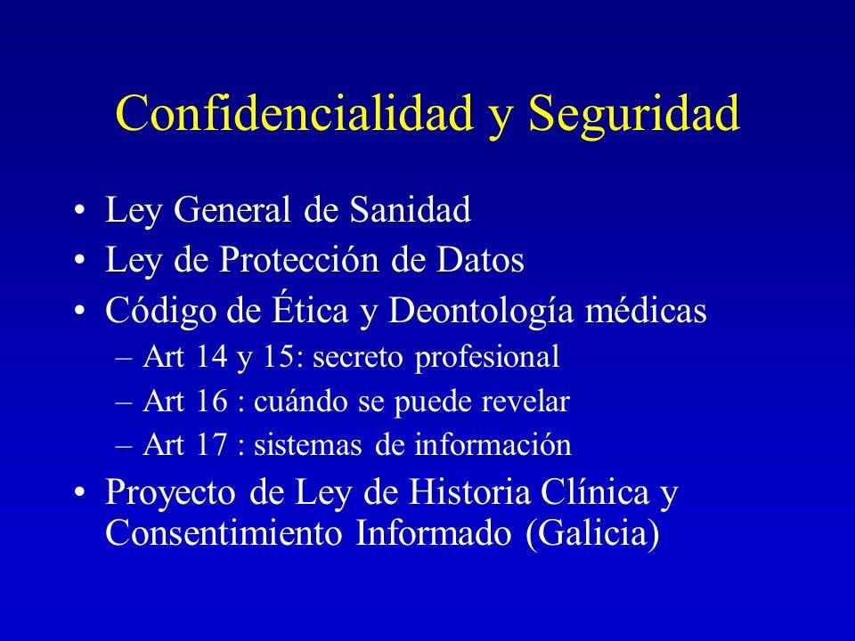 Confidencialidad y Seguridad Ley General de Sanidad Ley de Protección de Datos Código de Ética y Deontología médicas –Art 14 y 15: secreto profesional