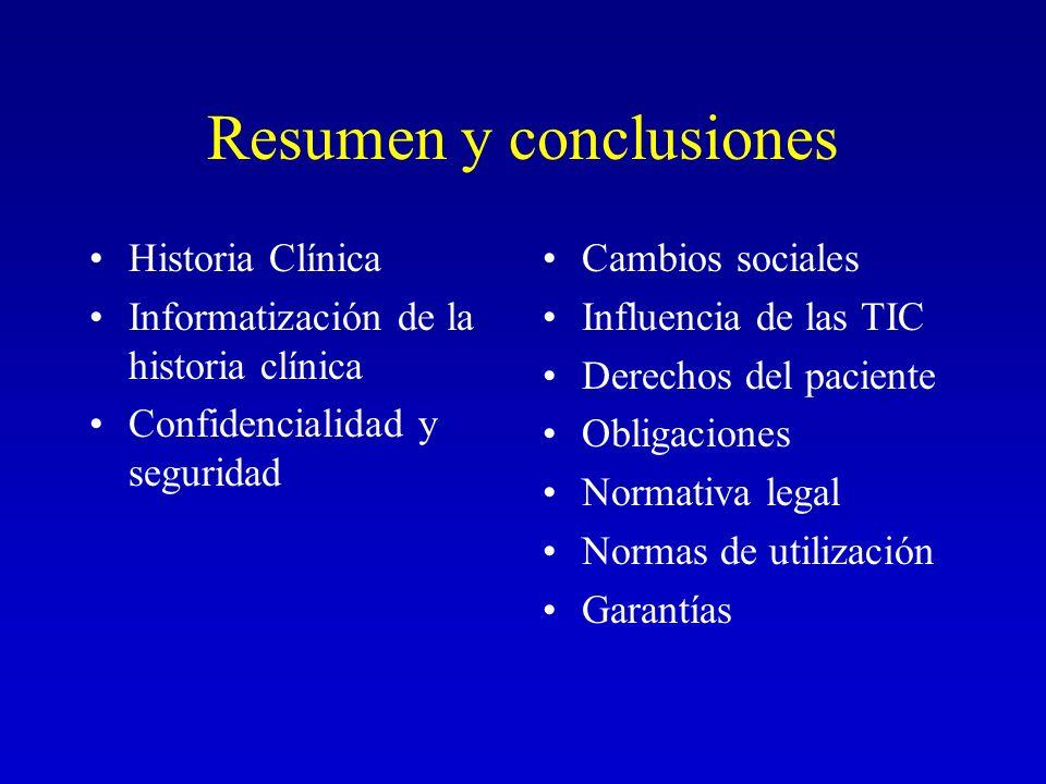 Resumen y conclusiones Historia Clínica Informatización de la historia clínica Confidencialidad y seguridad Cambios sociales Influencia de las TIC Der