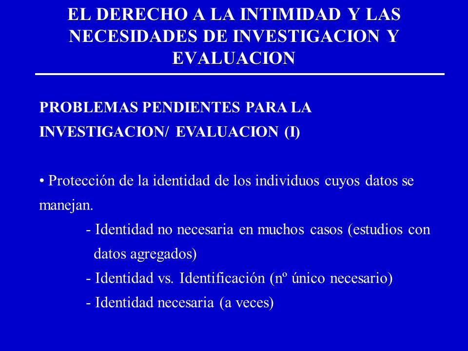 EL DERECHO A LA INTIMIDAD Y LAS NECESIDADES DE INVESTIGACION Y EVALUACION PROBLEMAS PENDIENTES PARA LA INVESTIGACION/ EVALUACION (I) Protección de la