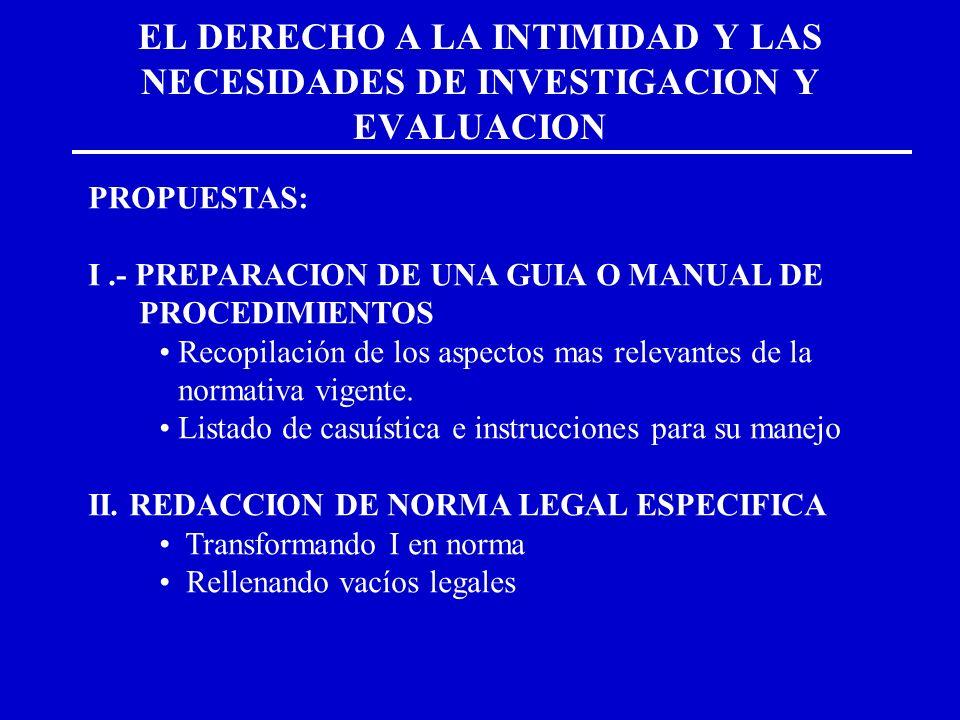 EL DERECHO A LA INTIMIDAD Y LAS NECESIDADES DE INVESTIGACION Y EVALUACION PROPUESTAS: I.- PREPARACION DE UNA GUIA O MANUAL DE PROCEDIMIENTOS Recopilac