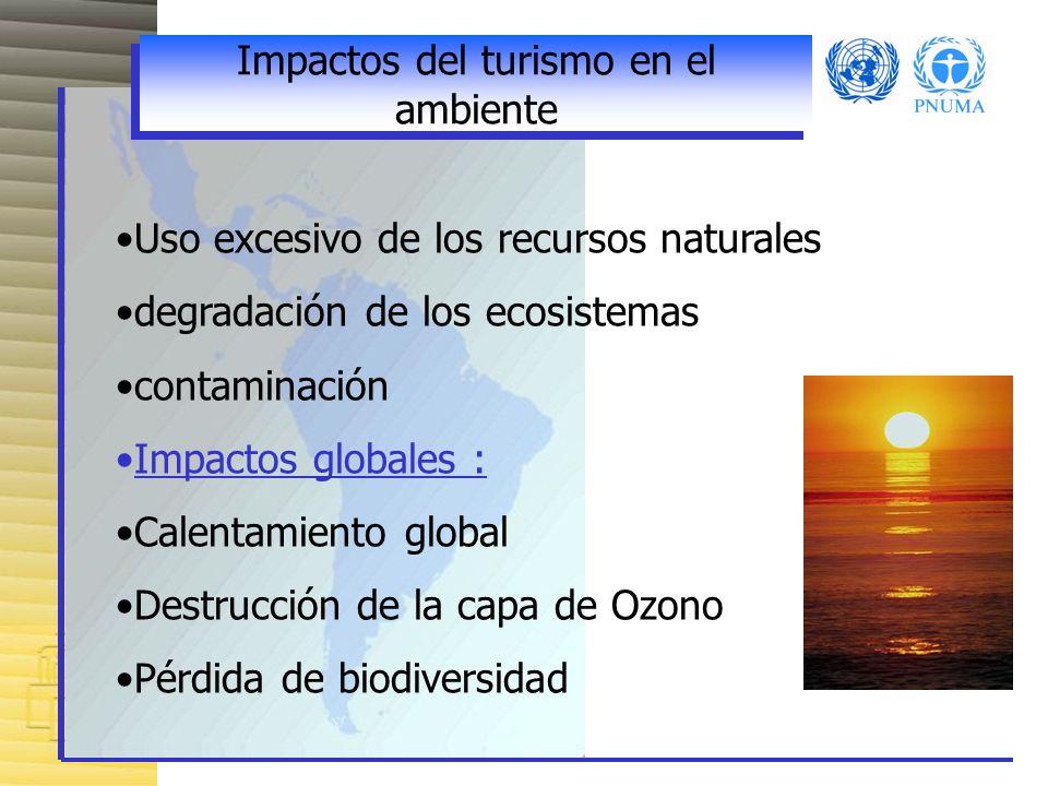 Impactos del turismo en el ambiente Uso excesivo de los recursos naturales degradación de los ecosistemas contaminación Impactos globales : Calentamiento global Destrucción de la capa de Ozono Pérdida de biodiversidad