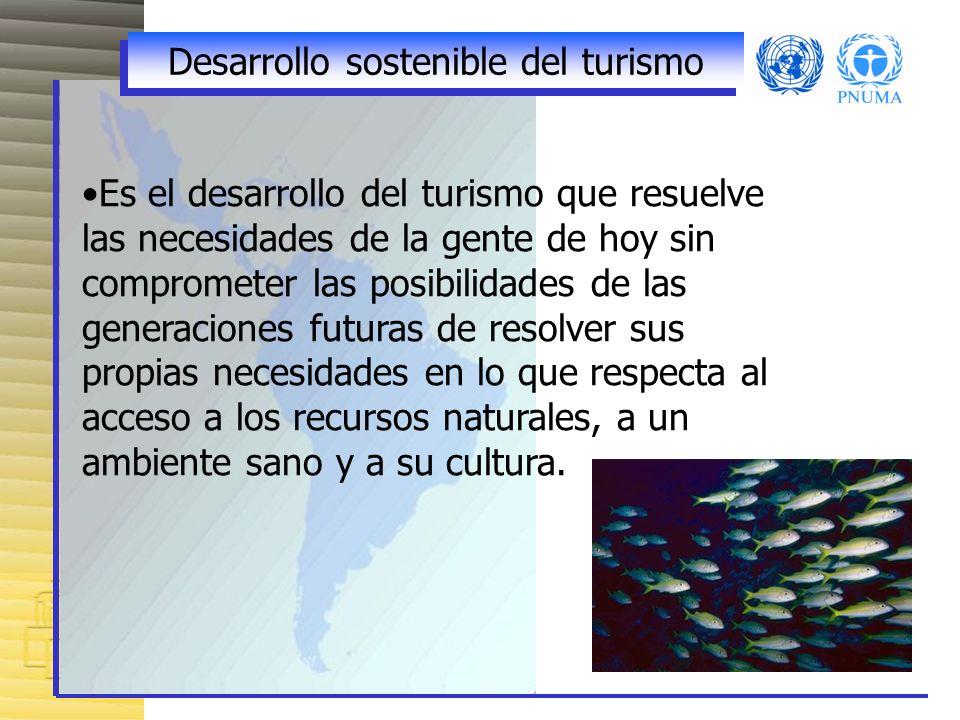 Desarrollo sostenible del turismo Es el desarrollo del turismo que resuelve las necesidades de la gente de hoy sin comprometer las posibilidades de las generaciones futuras de resolver sus propias necesidades en lo que respecta al acceso a los recursos naturales, a un ambiente sano y a su cultura.