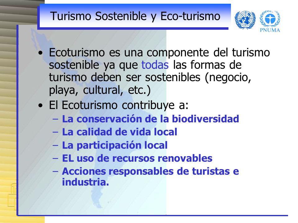 Turismo Sostenible y Eco-turismo Ecoturismo es una componente del turismo sostenible ya que todas las formas de turismo deben ser sostenibles (negocio, playa, cultural, etc.) El Ecoturismo contribuye a: –La conservación de la biodiversidad –La calidad de vida local –La participación local –EL uso de recursos renovables –Acciones responsables de turistas e industria.