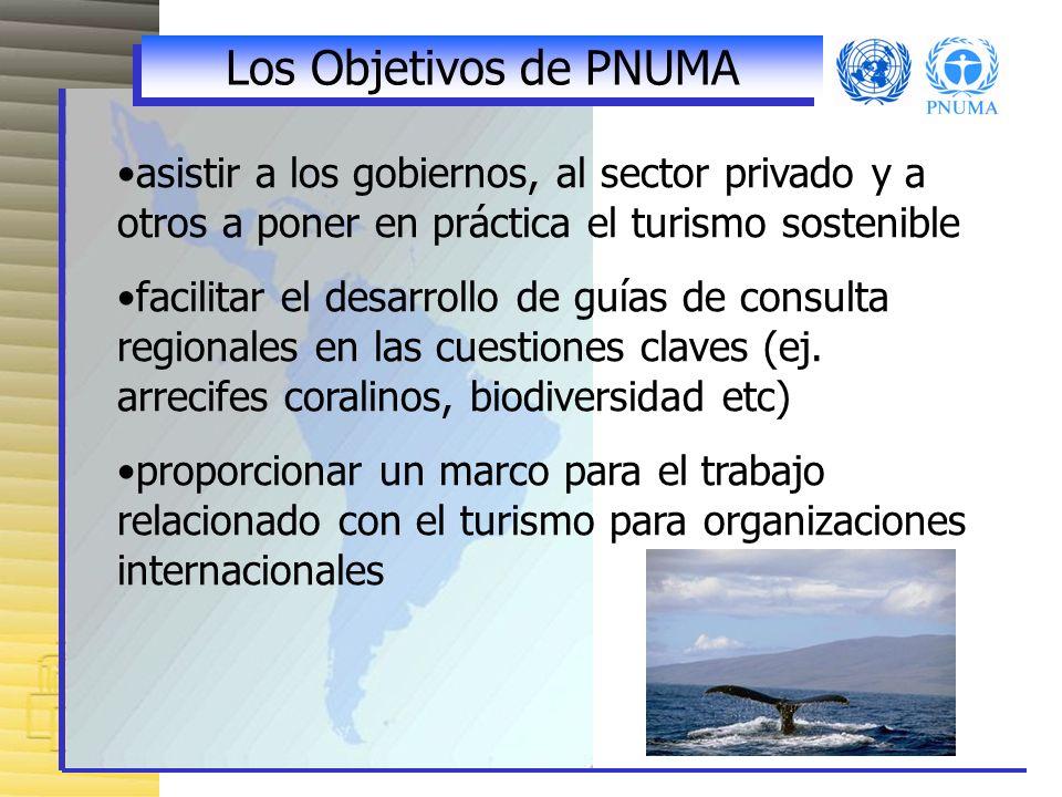 Los Objetivos de PNUMA asistir a los gobiernos, al sector privado y a otros a poner en práctica el turismo sostenible facilitar el desarrollo de guías de consulta regionales en las cuestiones claves (ej.