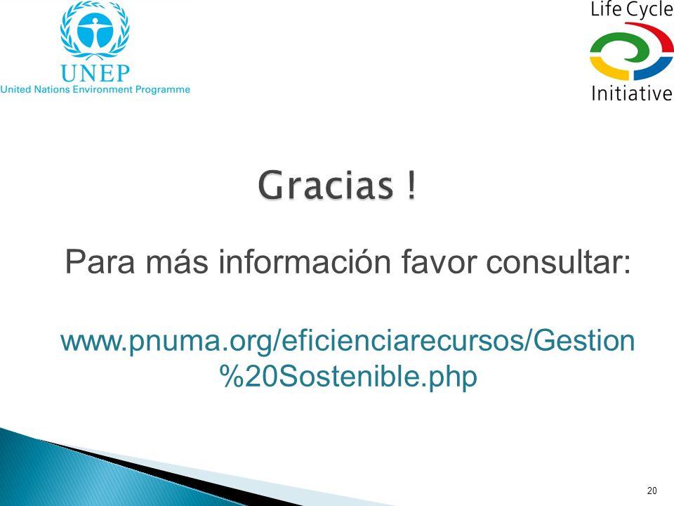 20 Para más información favor consultar: www.pnuma.org/eficienciarecursos/Gestion %20Sostenible.php
